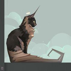 A cat contemplates the stars by François Bourdin - creatures - Katzen Animal Drawings, Art Drawings, Warrior Cats Art, Warrior Cat Drawings, Anime Warrior, Art Graphique, Pretty Art, Fantasy Creatures, Cat Art