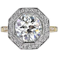 Carat Old European Cut Diamond Gold Platinum Ring Diamond Rings, Diamond Jewelry, Diamond Cuts, Jewelry Rings, Jewellery, Art Deco Jewelry, Vintage Jewelry, Platinum Ring, European Cut Diamonds