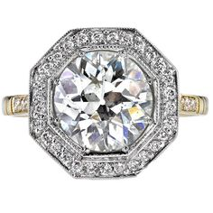 Old European Cut Diamond Engagement Ring | From a unique collection of vintage engagement rings at https://www.1stdibs.com/jewelry/rings/engagement-rings/