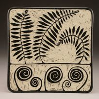 """""""Fern Study"""" Square plate.  Porcelain with sgraffito by Jennifer Falter Springfield Pottery, Springfield, Mo."""