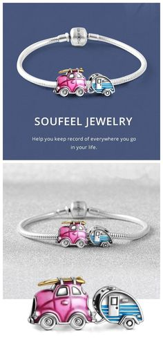 DIY your photo charms, compatible with Pandora bracelets. Make your gifts special. Make your life special! Soufeel Travel Car and Trailer Set Charms Bracelet. Record and accompany you every where you go in your life. Pandora Charms, Pandora Bracelets, Charm Bracelets, Wire Wrapped Jewelry, Beaded Jewelry, Inexpensive Gift, Silver Charms, Glamping, Gifts For Mom