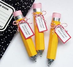 "rollo pencils - This would make a real ""sweet"" welcome back to school gift from the teacher to her new students."