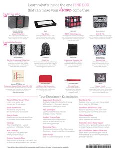 Thirty-One Gifts Fall 2016 Enrollment Kit: So what all comes in this amazing enrollment kit?  EVERYTHING you need to start your own business!  SUPPLIES:  25 catalogs  40 mini catalogs  25 hostess fliers  10 Opportunity Brochures  10 pink envelopes to share hostess packets  Product feature tags  25 recruiting fliers  50 order forms  one set of fabric swatches  PRODUCT:  Large utility tote  large utility top a tote  all in organizer  fold n file  zip top organizin