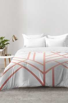 Bring standout style to your bedroom with the DENY Designs Elisabeth Fredriksson Art Deco Comforter. A modern geometric pattern gets a magic touch in rose gold on this lightweight bed topper, adorned with softly textured pintucks for understated charm. Rose Gold Room Decor, Rose Gold Rooms, Gold Bedroom Decor, Art Deco Bedroom, Bedroom Furniture, Luxury Furniture, Furniture Ideas, Rose Gold Comforter, Rose Gold Bed