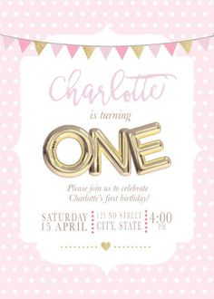Pink and gold first birthday First birthday invitation by LolaArtz