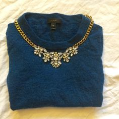 J crew wool sweater This dark teal sweater is perfect for the holidays and for the winter months. Pair with your favorite red lipstick and you are golden! *fits more like a j crew xxs* J. Crew Sweaters Crew & Scoop Necks