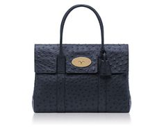 Mulberry - Bayswater  in Ink Blue Ostrich
