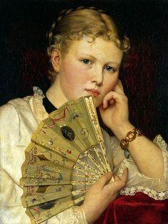 Girl with a Fan by Władysław Czachórski (Polish,1850-1911), oil on canvas, 57 x 43 cm, private collection.
