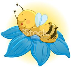 An adorable baby bee sleeping in a flower with the morning sun shining on his back Cartoon Bee, Cute Cartoon, Bisous Gif, Bee Pictures, Bee Drawing, Bee Tattoo, Cute Bee, Bee Art, Bee Crafts