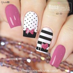 Nail art Christmas - the festive spirit on the nails. Over 70 creative ideas and tutorials - My Nails Cute Nail Art, Beautiful Nail Art, Stylish Nails, Trendy Nails, Valentine Nail Art, Disney Nails, Nail Swag, Hot Nails, Perfect Nails