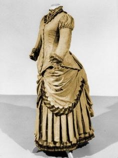 centraal museum gown | Dress, ca. 1882 Light brown wool, trimmed with red silk satin Centraal ...