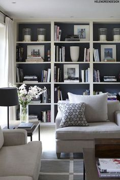 Home Design Ideas: Home Decorating Ideas Living Room Home Decorating Ideas Living Room Family room - Dark Bookshelves (dark cupboard doors too) with white trim Interio. Bookshelves In Living Room, Bookshelves Built In, Built Ins, Bookcases, Book Shelves, Built In Cupboards Living Room, Organizing Bookshelves, Decorate Bookshelves, Floor To Ceiling Bookshelves