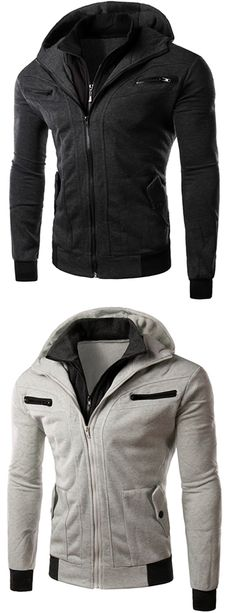 Multi-Zipper Patch Pocket Rib Spliced Hooded Long Sleeves Slimming Thicken Faux Twinset Hoodie For Men