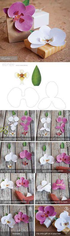 Lindas orquídeas de papel passo a passo para você decorar lembrancinhas de casamento!