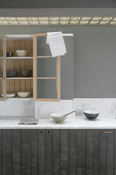 A glazed wall cupboard is detailed with a back of woven wood. Wooden wall cupboard in a Sebastian Cox kitchen design from deVOL Home Decor Kitchen, Kitchen Furniture, Kitchen Interior, Kitchen Design, Kitchen Ideas, Kitchen Inspiration, Bedroom Furniture, Kitchen Units, Kitchen Cabinetry