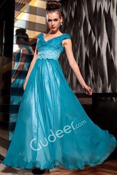 Ocean Blue Petal Bodice Chiffon V-neck Cap Sleeve Long Evening Dress