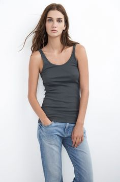 VELVET By Graham & Spencer Angelina Sleeveless RibbedCotton Tank Top Grey S $68 #VelvetbyGrahamSpencer #TankCami #Casual