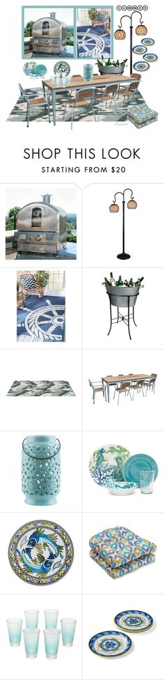"""Summer Outdoor Dining"" by ragnh-mjos ❤ liked on Polyvore featuring interior, interiors, interior design, home, home decor, interior decorating, Frontgate, nuLOOM, Artland and Surya"