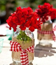 gingham mason jars filled with red geraniums. Always a hitand gingham mason jars filled with red geraniums. Always a hit 4th Of July Party, Fourth Of July, Farm Birthday, Birthday Parties, Country Birthday Party, Birthday Ideas, 85th Birthday, Baseball Birthday, Baseball Party