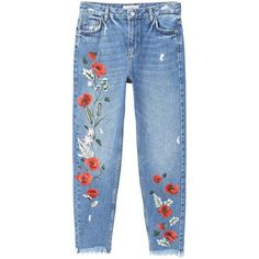 Embroidered Relaxed Jeans (1.100 ARS) ❤ liked on Polyvore featuring jeans, pants, bottoms, trousers, frayed hem jeans, mango jeans, floral embroidered jeans, embroidered jeans and zipper jeans