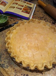 "Pioneer Woman's Chicken Pot Pie: I made it vegetarian with vegetable stock and Quorn ""chicken"". Also added potatoes that I had diced and boiled for 10 minutes. Also love to add frozen peas or spinach or cauliflower...whatever veggies I have on hand that sound good at the time :)"