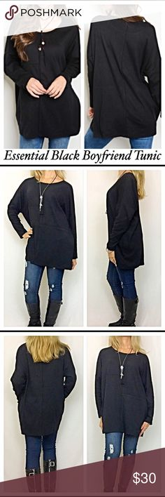 "Essential Black Boyfriend Tunic Top SML Essential & Adorable Boyfriend Relaxed Tunic Top in black. Round neck, loose fitting & super soft in a polyester/spandex blend that feels like cotton. Nice quality with splicing to add some pizazz. Dress up or down & easy to wear with your patterned bottoms. ❤️ Black available in separate listing SML  Small Bust 54"" Length 28"" Medium Bust 55"" Length 29"" Large Bust 56"" Length 30"" Tops Tunics"
