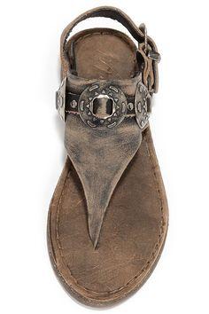 Matisse Ringo Black Tumbled Leather Western Thong Sandals at Lulus.com!