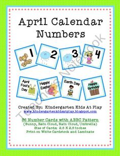 April Calendar Numbers with Patterns from Kindergarten Kids At Play on TeachersNotebook.com (6 pages)  - April Calendar Numbers with Patterns