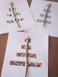 An original DIY to do with your kids, a twig and masking tape! Kids Christmas, Handmade Christmas, Tarjetas Diy, Masking Tape, Washi Tapes, Navidad Diy, Ideias Diy, Theme Noel, Diy Weihnachten
