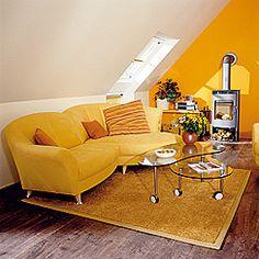 Freundliche Dachgeschosswohnung in warmen Farbtönen. Innenraumgestaltung durch die Stegemann GmbH in Hagen (58093) | Maler.org