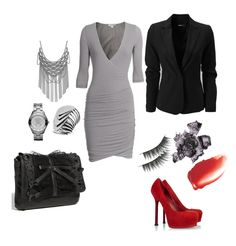 grey dress black blazer black lace clutch red platform heels party outfit fake eyelashes red lipstick red lip gloss silver watch silver chunky necklace black eyeliner what to wear on a date women's trendy outfits women's sexy outfit what to wear on a date pretty please us blog hot red platform heels women's trendy fashion women's apparel