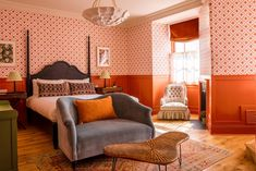 With a stunning new look from interior designer Nicola Harding, the property combines quirky British sensibility with elegant authentic luxury. Sheltered within a Grade II-listed property dating back to 1665, the now hotel was originally used as ancillary accommodation for guests of King Henry VIII at Hampton Court Palace. Set on the banks of the River Thames, the 36-key hotel includes a riverside all day dining and wine bar, a brasserie and bar, an Orangery, and a large riverside terrace. Royal Room, Blue Lamp Shade, Hotel King, Mad About The House, Monday Inspiration, Hampton Court, Blue Cushions, Hotel Decor, Room Themes