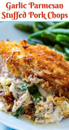 Garlic Parmesan Stuffed Pork Chops - Spicy Southern Kitchen # Food and Drink dinner pork chops Garlic Parmesan Stuffed Pork Chops Cooking Recipes, Healthy Recipes, Kitchen Recipes, Garlic Parmesan, Pork Dishes, Charcuterie, Clean Eating Snacks, Bacon, Stuffed Peppers