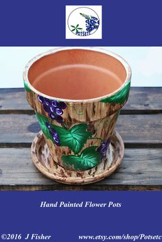 Hand Painted Flower Pot - Terracotta, Grapevine, Purple Grapes, Green Leaves and Brown Background, Small 6 Inch, Home or Garden, PPG0616    $20.25  #paintedflowerpots #handpaintedflowerpots #gardenpots #flowerpots #claypots #paintedpots