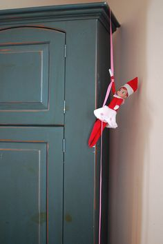 Elf on the Shelf - rappelling