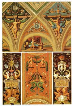 Italian Renaissance Ceiling and Wall Painting    Ceiling painting in the Palazzo Doria in Genoa, pilaster decoration from Raphael's loggia series at the Vatican and window-niche panels from the Vatican Museum.
