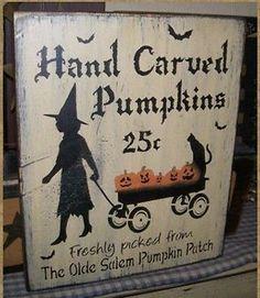 PRIMITIVE HALLOWEEN SIGN~HANDCARVED PUMPKINS~~WITCH~~BLACK CATS~~