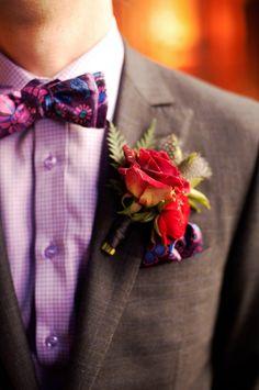 cool: grey suit, subtle purple shirt, purples tie
