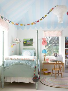 We love this tentlike ceiling in this girls' room! More decorating ideas for girls' bedrooms:    http://www.bhg.com/rooms/kids-rooms/girls/bedrooms-for-girls/?socsrc=bhgpin0610113tentceiling=6