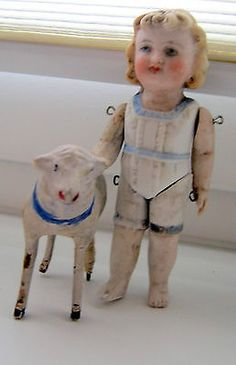 Antique Mignonette doll and sheep -Hertwig - Germany