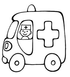 Vehicle coloring pages for babies 15 Colouring Pages, Printable Coloring Pages, Coloring Books, Drawing Lessons For Kids, Easy Drawings For Kids, Applique Patterns, Applique Designs, Ambulance, Quiet Book Templates