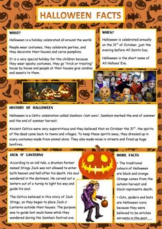 This is a worksheet to learn facts about Halloween. It is a reading task and there also are some activities to check the pupils' reading comprehension. Halloween History, What Is Halloween, Halloween Boo, Holidays Halloween, Halloween Facts For Kids, Halloween Worksheets, Halloween Activities, Spelling Activities, English Activities
