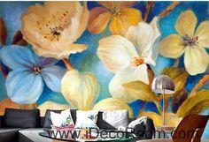 Beautiful dream fresh blue light yellow blooming flowers poppy flower wall art wall decor mural wallpaper wall IDCWP-000271