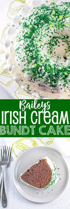 Irish Cream Bundt Cake: an easy, rich one bowl chocolate bundt cake covered with an Irish cream glaze - this one bowl cake is perfect for holiday entertaining, especially St. Patrick's Day! {Bunsen Burner Bakery}