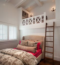 : Good Beach Style Nautical Bedroom Ideas With Taupe Magenta Pillows Beside Wooden Stair That Connected The Upper Area