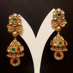 Looking for best antique jhumka designs? Check out our picks of 14 unique models that will stand test of time and can be worn any year down the line. Gold Jhumka Earrings, Jewelry Design Earrings, Gold Earrings Designs, Gold Jewellery Design, Jewellery Diy, Gold Designs, Designer Jewellery, Diamond Jewellery, Bridal Jewelry