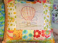 Hot Air Balloon Hand Embroidered Patchwork Pillow