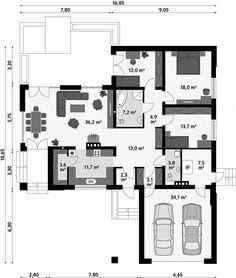 Rzut parteru projektu Ambrozja MC Home Building Design, Building A House, Bungalow, House Plans, Floor Plans, How To Plan, Cool Stuff, Villas, Magnolia