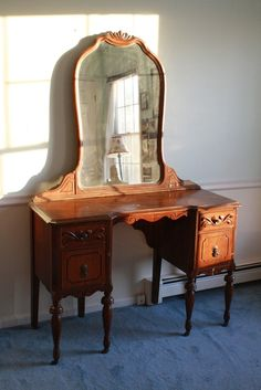 Antique 1940s Wooden Mahogany Mirrored Vanity by VonlenskaVintage, $375.00
