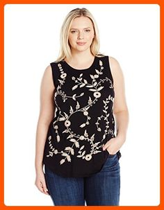 Lucky Brand Women's Plus Size Embroidered Tank Top, Lucky Black, 3X - All about women (*Amazon Partner-Link)